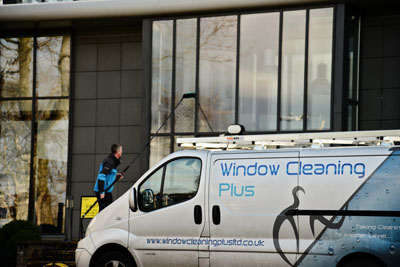 image of window cleaning office with water fed pole